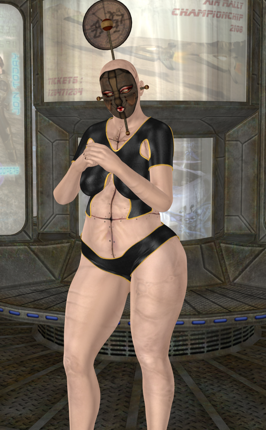 Rema regularly seeks ass to kick. Her texture and headgear come from an A3 character of the same name. She is a Genesis 2 Female base model with morphs including SickleYield's Big Beautiful Genesis 2 Females Perla, the Genesis Basic Female morph, Victoria 5 Supermodel, G2F body morphs Heavy and Body Volume, Slosh's G2F Girl Base, and Tempesta3D's Mildred for G2F. Leather clothing is from Sarsa's G2F Scifi Sniper Suit. Pose is from Diane's Manly Poses for Michael 6. Set is Danie and Marforno's Neo Stop.