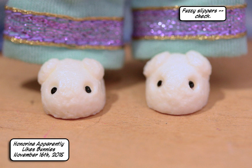 Nauseatingly cute resin bunny slippers by Elfdoll.