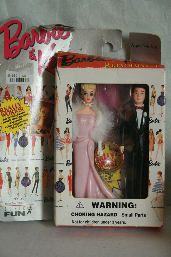Keychain reproductions of classic Barbie and Ken models [$5.00], as I'm always on the lookout for dolls for dolls.